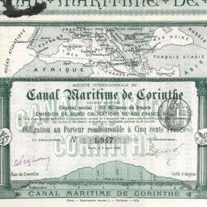 Société Internationale du Canal Maritime de Corinthe (Internationale Gesellschaft des Seekanals von Korinth) 1882-1890 (KK030a)
