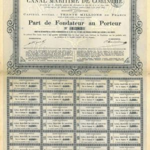 Société Internationale du Canal Maritime de Corinthe (Internationale Gesellschaft des Seekanals von Korinth) 1882-1890 (KK020)