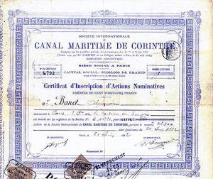 Société Internationale du Canal Maritime de Corinthe (Internationale Gesellschaft des Seekanals von Korinth) 1882-1890 (KK010c)
