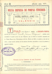 Nueva Empresa de Pompas Fúnebres - Regües, Sanfeliu, Jaime y Cia. (MF001)
