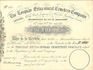 The Torquay Extra-mural Cemetery Company (MF012)